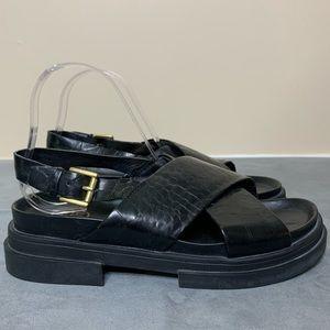 ASH Sue Black Leather Sandals (38)
